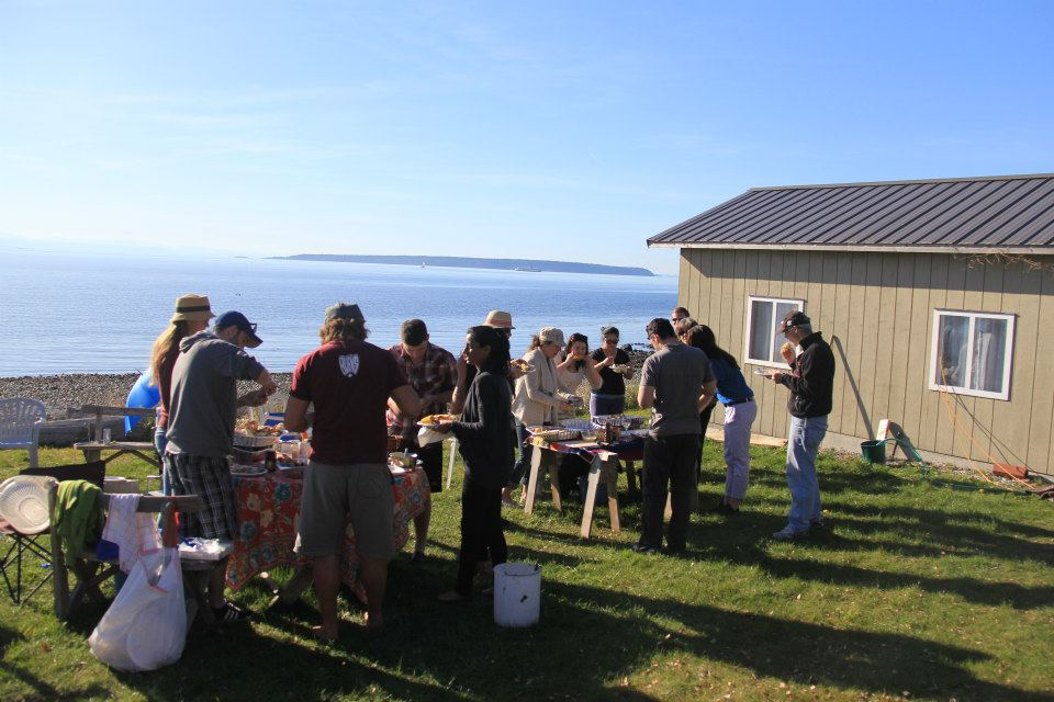 Family and friends gathering at Clambake