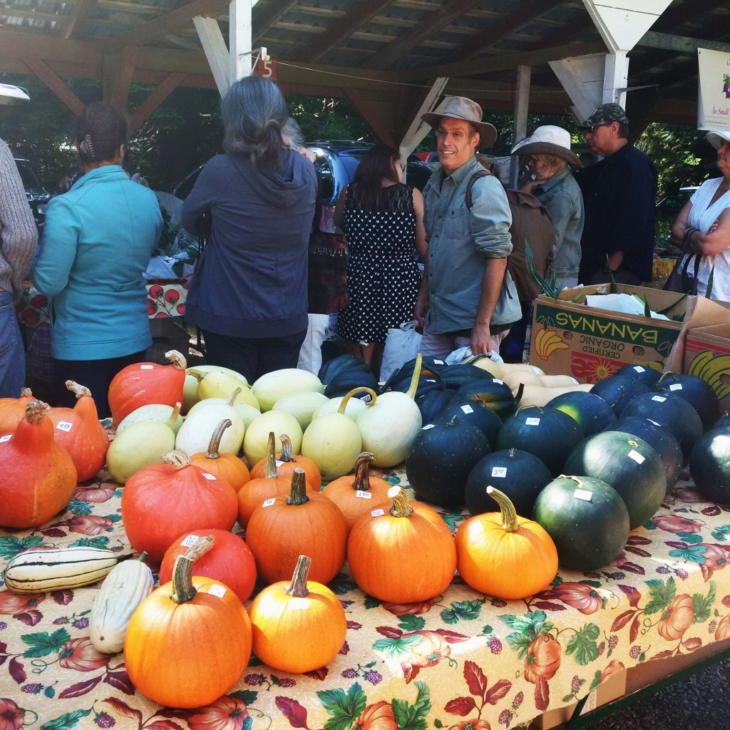 Lining up at the farmers market for goodness from the garden.