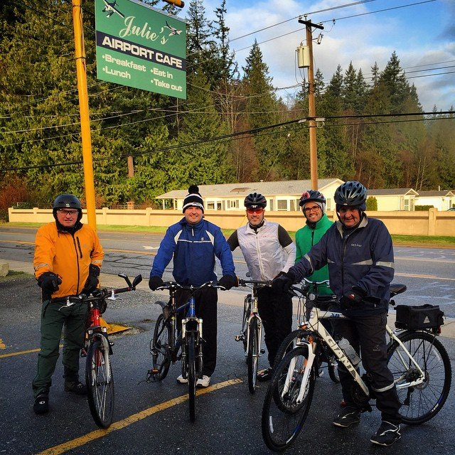 Christmas Eve ride in the cold. From L-R: P.J. Behan, Wesley Behan, Jordan Behan, Michael Blondé, Gerard Martin.
