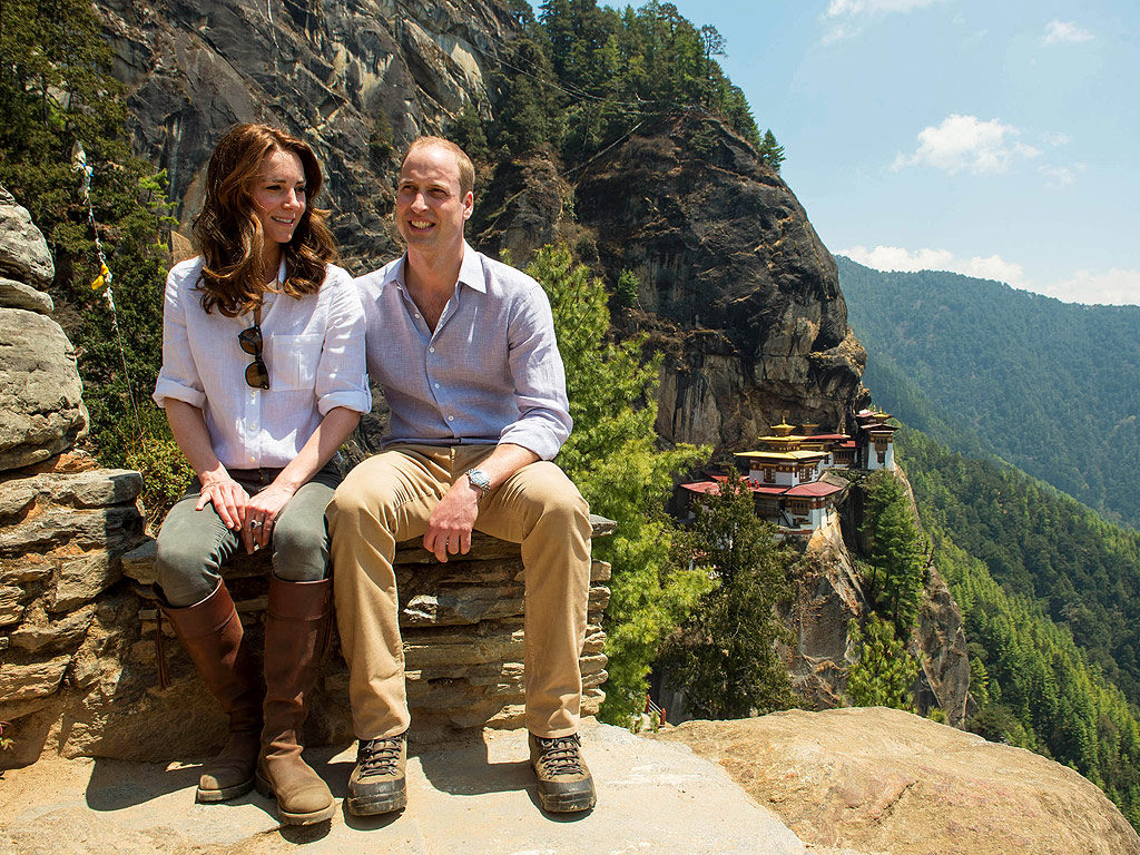 William and Kate hiking in Bhutan in April. Photo from www.people.com.